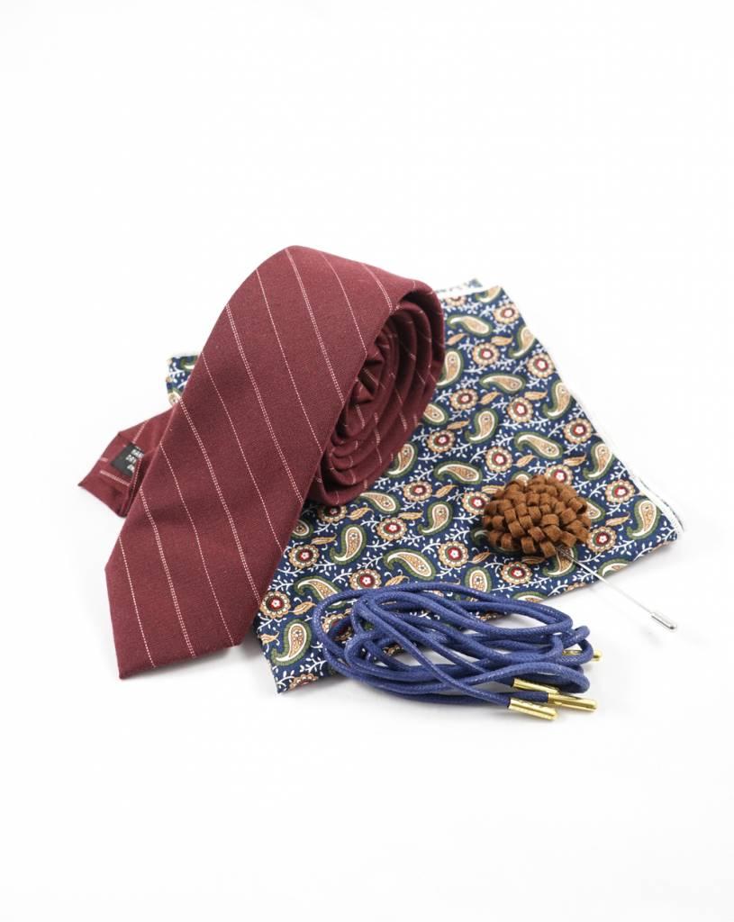 Toffster Krawatte mit Einstecktuch, Reversnadel und Schnürsenkeln