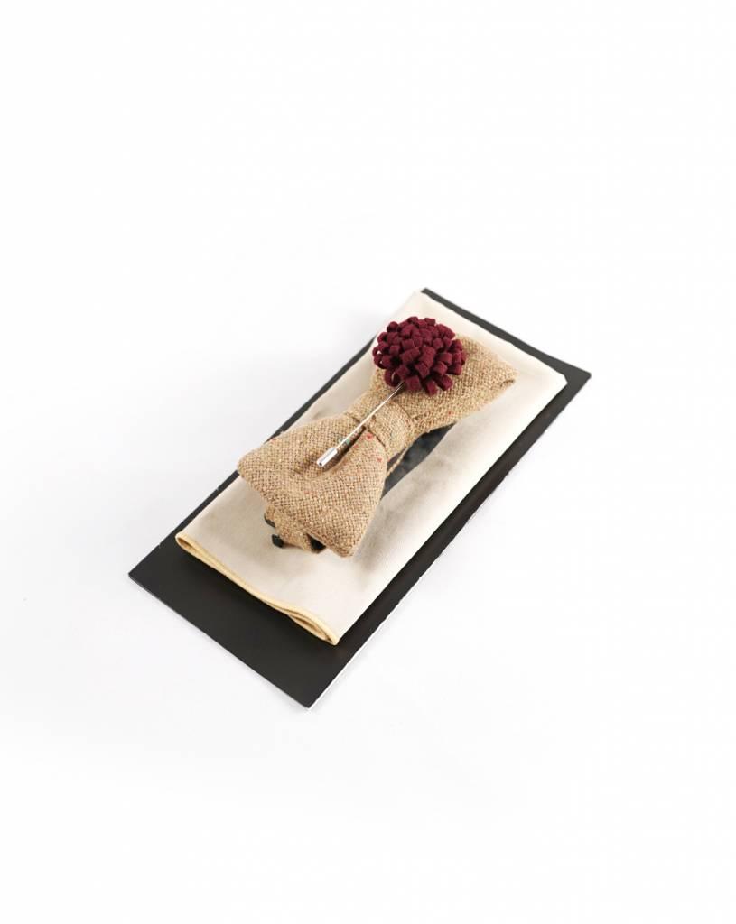 Toffster Set aus Fliege mit Einstecktuch und Boutonniere