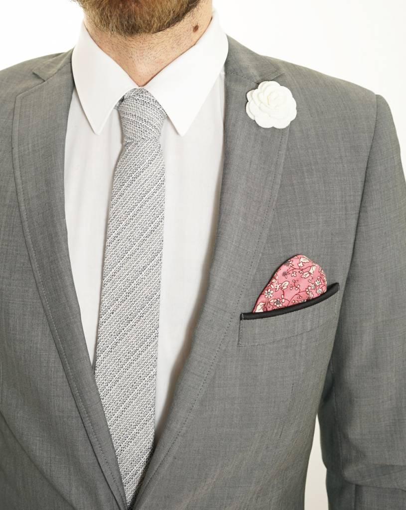 Toffster Tie   Linen   Grey   White