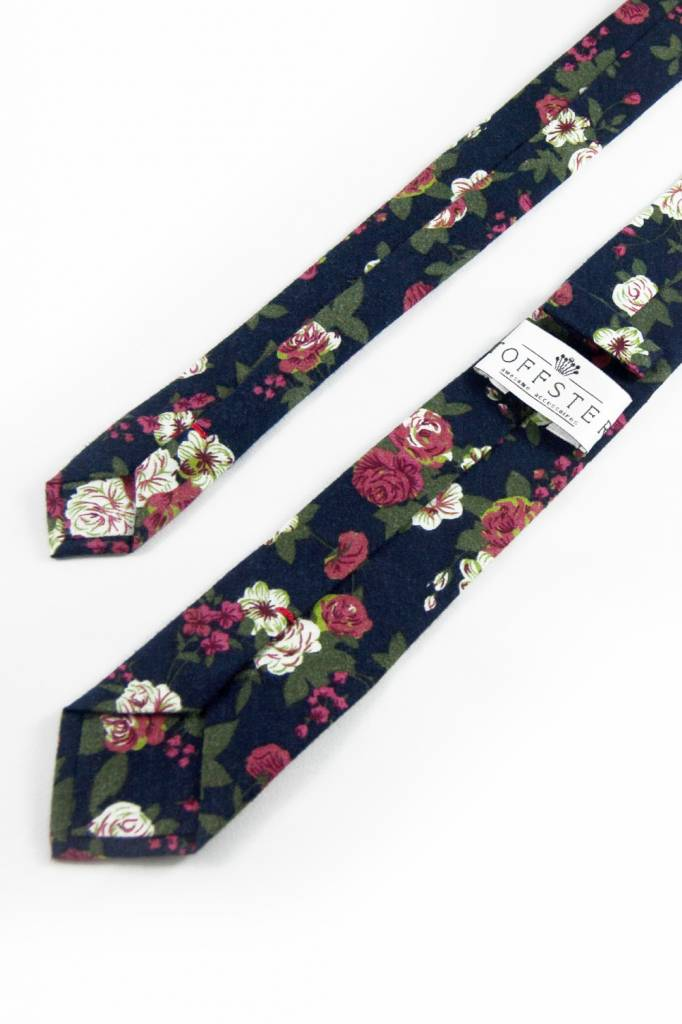 Toffster Tie | Cotton | Blue | Flowers