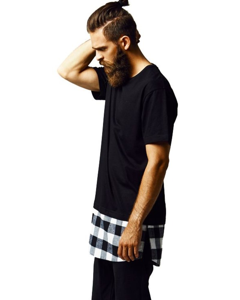 URBAN CLASSICS Long Shaped Flanell Bottom Tee b/w