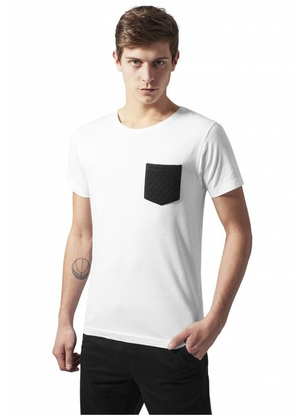 URBAN CLASSICS Quilted Pocket Tee wit/zwart
