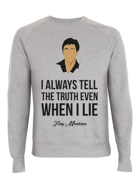 DOPE ON COTTON DOC Flat design Tony Montana Organic Crewneck Sweater