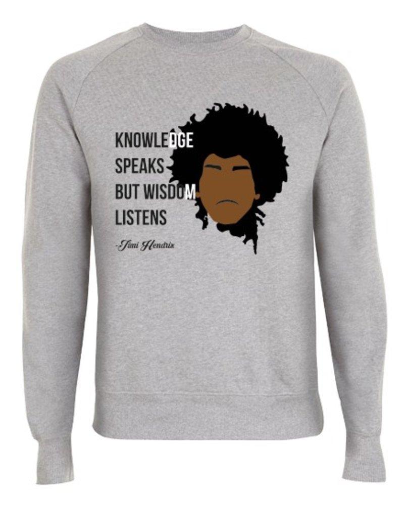 DOPE ON COTTON DOC Flat design Jimi Hendrix Organic Crewneck Sweater