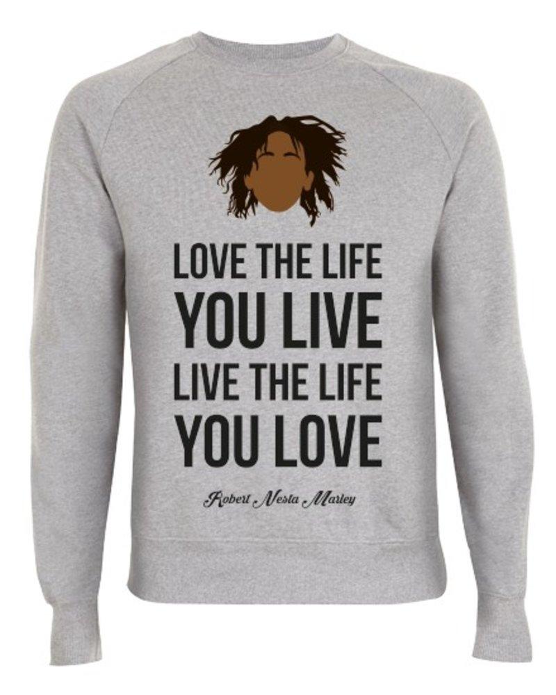 DOPE ON COTTON DOC Flat design Bob Marley Love Crewneck Sweater