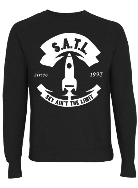 SATL (Sky Ain't The Limit) SATL SLIMFIT ORGANIC CREWNECK SWEATER BIG ROCKET LOGO BLACK