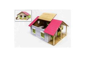 Paardenstal hout met 2 boxen en berging  - roze