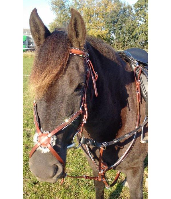 Ascot's Finest Leren borsttuig met lak en strass  Cognac Bruin in Full, Cob en Pony