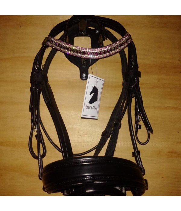Ascot's Finest Black leather bridle with wide noseband and rhinestones - Shet, Pony, Cob and Full.