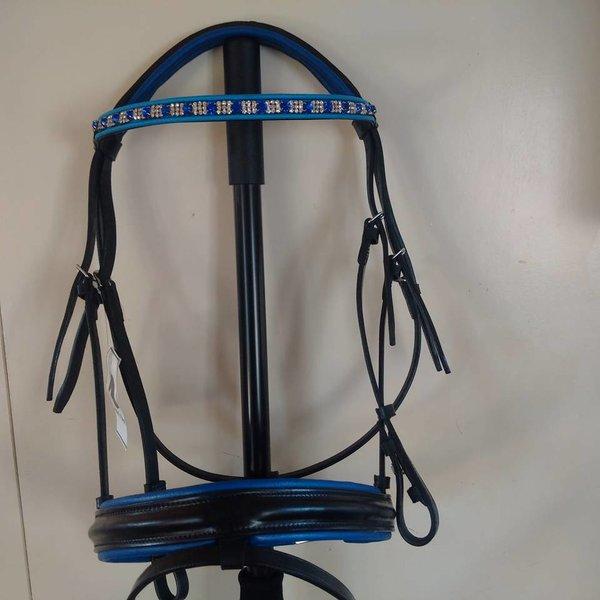 Zwart rundlederen hoofdstel Maat Full met blauw/zilveren Swarovski frontriem