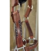 Ascot's Finest Bruin rundlederen halster met twee rijen strass - Maten Pony, Cob en Full