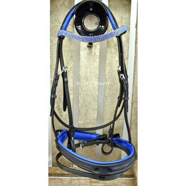 Zwart lederen hoofdstel met blauwe padding en strass - Pony and Shet