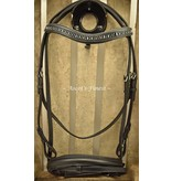 Ascot's Finest Black cowhide leather bridle with rubber reins - Cob and Full