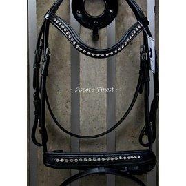 Ascot's Finest Zwart rundlederen en lak hoofdstel - Pony, Cob en Full