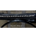 Ascot's Finest Black cowhide leather strass noseband and browband - Pony, Cob and Full