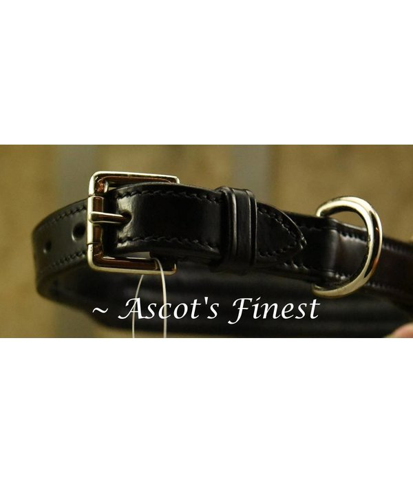 Ascot's Finest Black leather dog collar with stitching - 50 cm