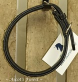 Ascot's Finest Black leather dog collar with rhinestones - 55 cm