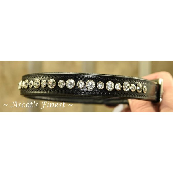 Zwart lederen halsband met witte strass - 55 cm