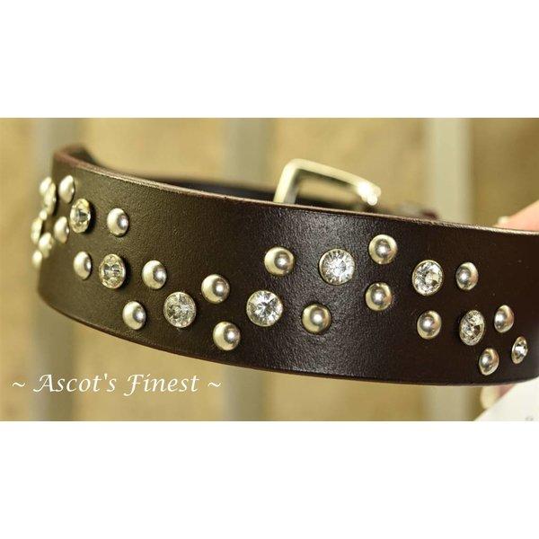 Zwart lederen halsband met studs en strass - 50 cm