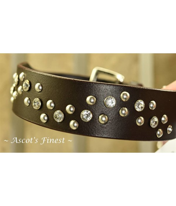 Ascot's Finest Black leather dog collar with studs and rhinestones - 50 cm