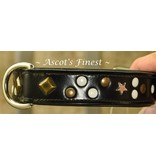 Ascot's Finest Black leather dog collar with studs - 50 cm