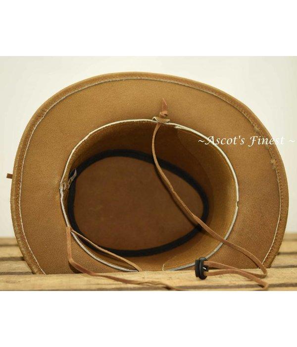 Ascot's Finest Lichtbruine rundlederen hoed