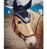 Ascot's Finest Black Ear Bonnet - with beautiful rhinestones - XFull, Full Cob and Pony
