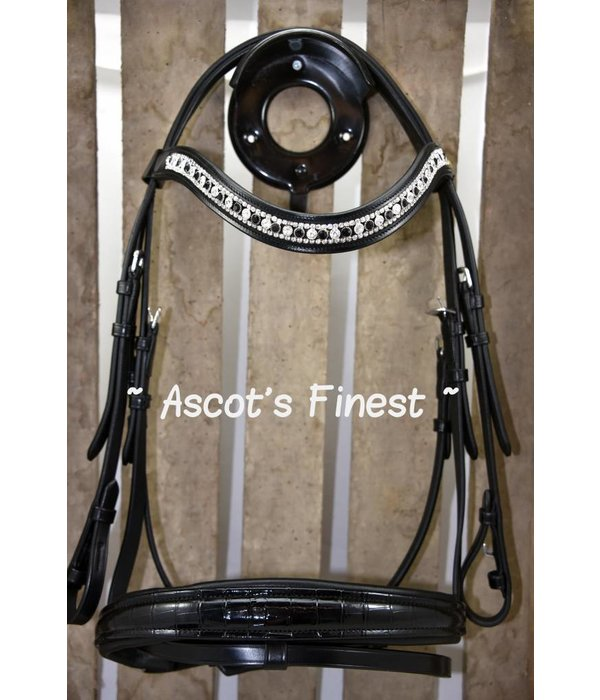 Ascot's Finest Black cowhide leather bridle with croco - Pony, Cob, Full