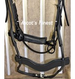Ascot's Finest Black cowhide leather bridle with special noseband - XFull and Full