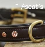 Ascot's Finest Bruin rundleder met roze Swarovski strass - 65 cm