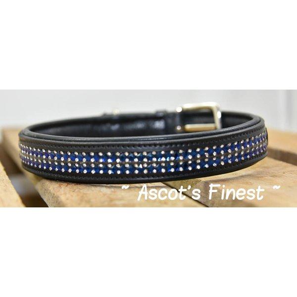 Zwart rundleer met blauwe strass - 55 cm, 60 cm en 65 cm