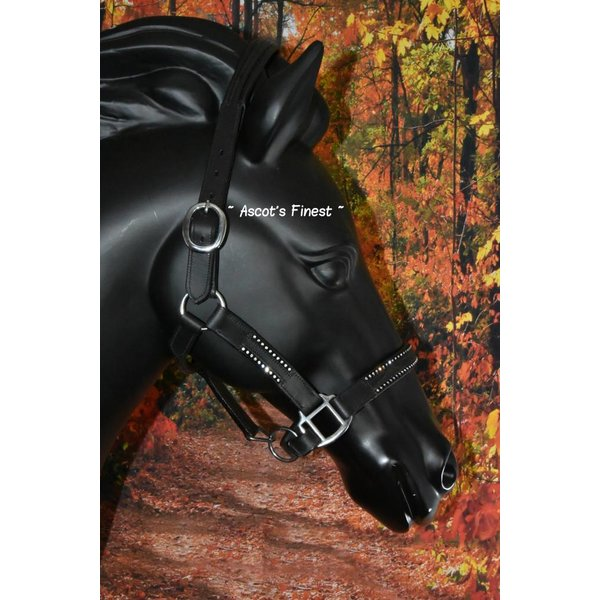 Black leather halter with 2 rows of strass - Full, Cob and Pony