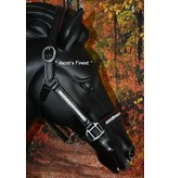 Ascot's Finest Zwart lederen halster met roze padding en witte strass - Pony, Cob en Full