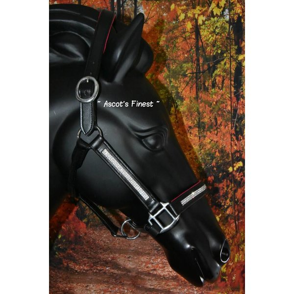Black leather halter with pink padding and white strass - Pony, Cob and Full