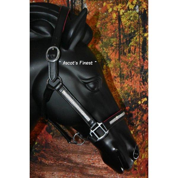 Zwart lederen halster met roze padding en witte strass - Pony, Cob en Full