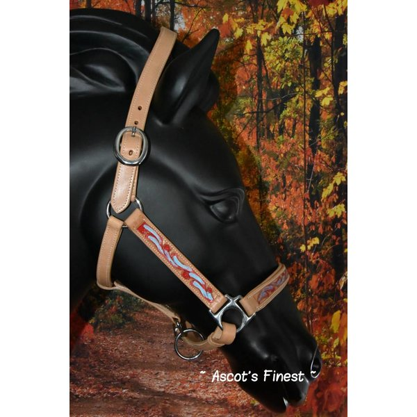 Cowhide leather halter cut out and colour - Full. Cob and Pony