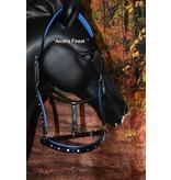 Ascot's Finest Zwart halster met Royal Blue steentjes - Cob en Full