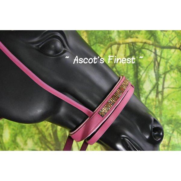 Nieuwe Roze rundlederen hoofdstel - Pony, Cob en Full