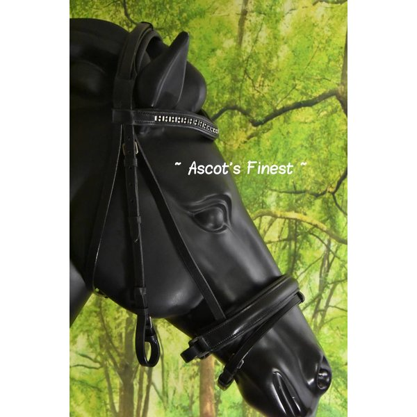 Black cowhide leather bridle with rubber reins - Cob and Full