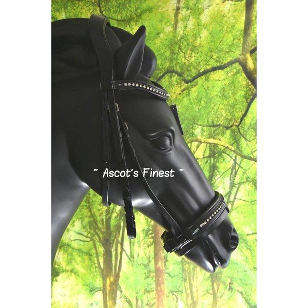 Zwart rundlederen en lak hoofdstel - Pony, Cob en Full