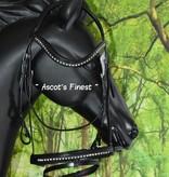 Ascot's Finest Zwart rundlederen en lak hoofdstel in Pony, Cob en Full