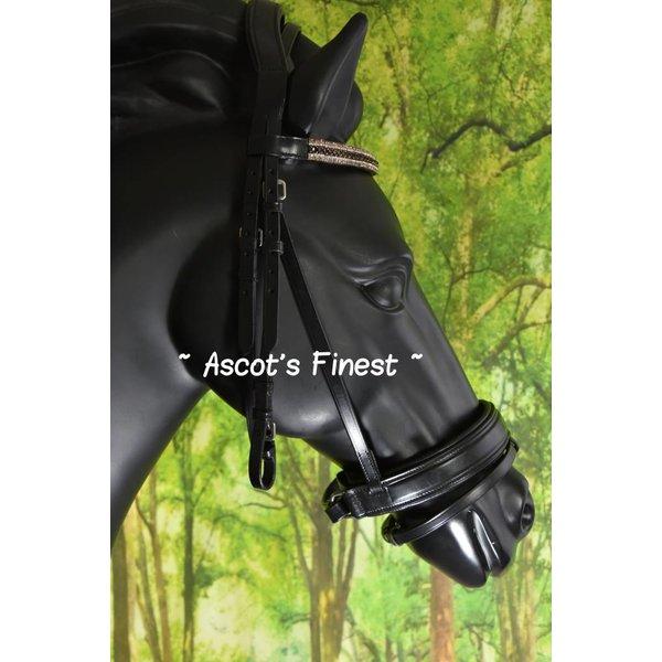Zwart rundleer hoofdstel met brede neusriem en strass - Shet, Pony, Cob and Full.
