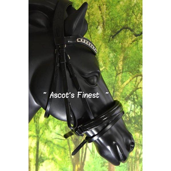 Zwart rundleder hoofdstel met kroko-lak - Pony, Cob, Full  en XFull