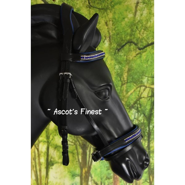 Black ultra soft bridle with Royal Blue rhinestones - Pony and Full