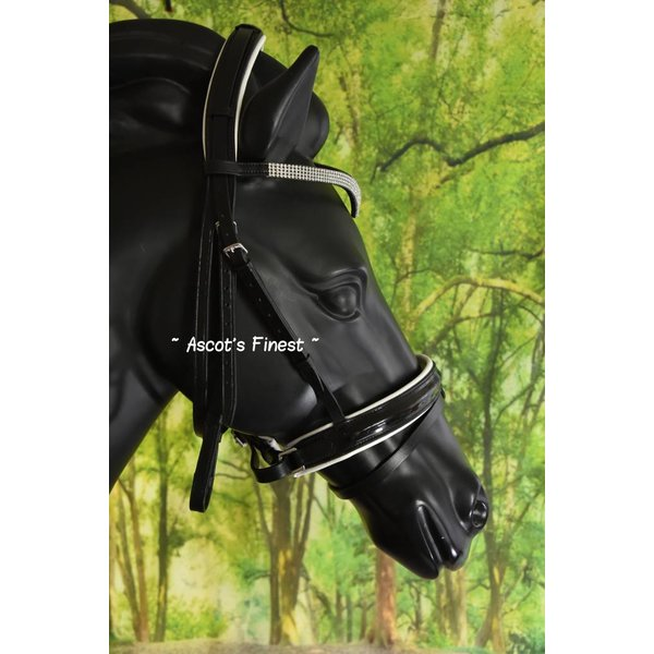 Black leather bridle with strass and white padding - Full and Cob