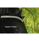 Ascot's Finest Black leather bridle with V-shaped strass browband - Full and Cob