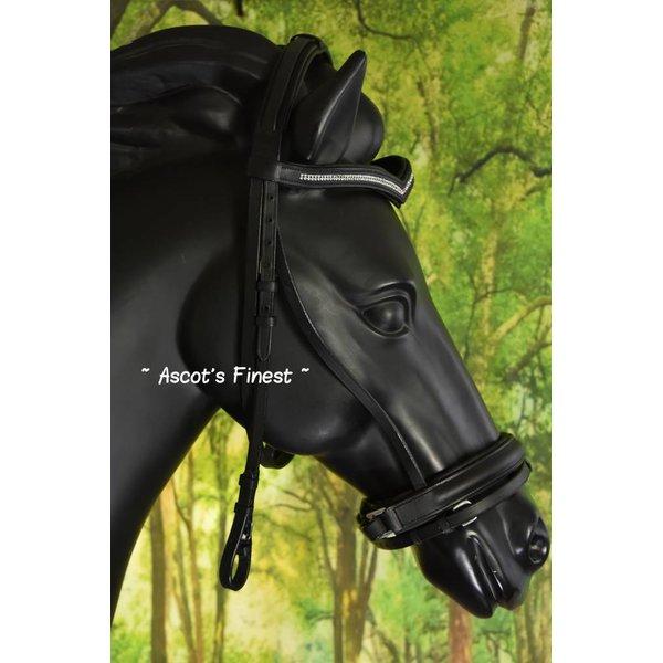 Zwart rundlederen hoofdstel V-frontriem - Pony, Cob, Full