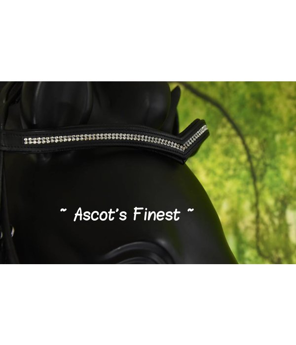 Ascot's Finest Black cowhide leather bridle V-browband - Pony, Cob, Full