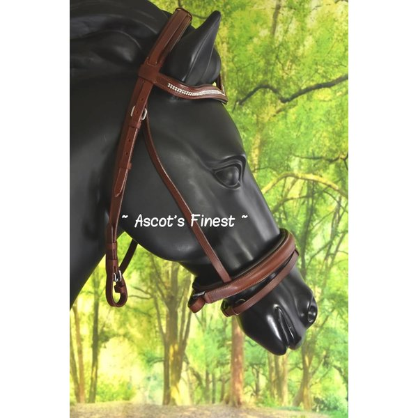 Brown cowhide leather bridle with V-browband - Full and Pony