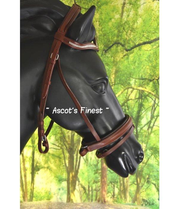 Ascot's Finest Bruin rundlederen hoofdstel met V-frontriem - Full en Pony